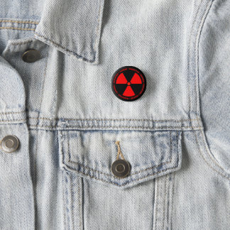 Rote Strahlungs-Warnung Runder Button 2,5 Cm