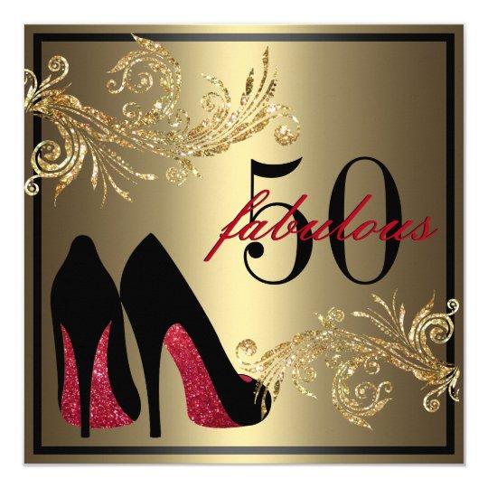 Rote Tanzen Schuhe fabelhafter 50. Geburtstag Einladung