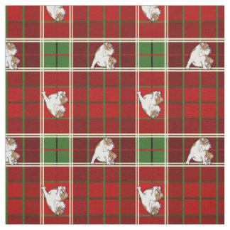 Rote Tartan-Bulldogge Stoff