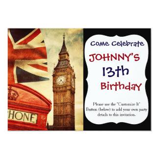 Rote Telefonzelle und Big Ben in London, England 12,7 X 17,8 Cm Einladungskarte