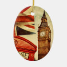 Rote Telefonzelle und Big Ben in London, England Keramik Ornament