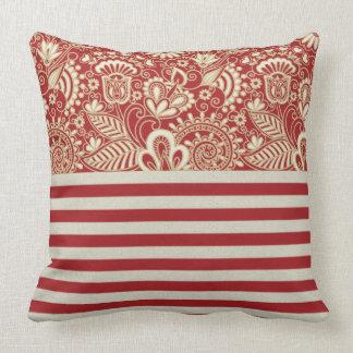 rote Terrakottabeige streift Muster Wurfs-Kissen Zierkissen