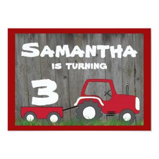 Rote Traktor-Geburtstags-Einladung: Alter im Wagen 12,7 X 17,8 Cm Einladungskarte