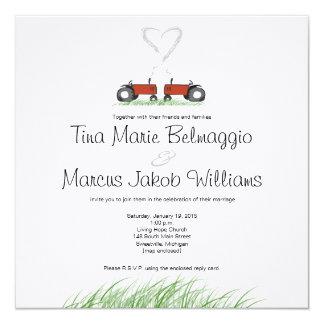 Rote Traktor-Hochzeits-Einladung Karte