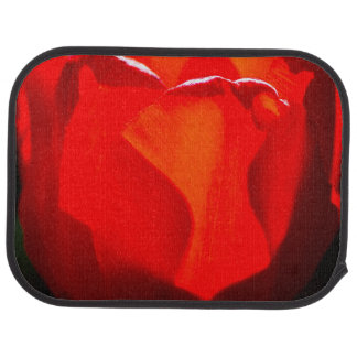 Rote Tulpe-Blume - Feuer Autofußmatte