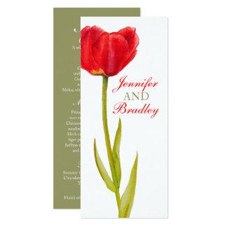 Rote Tulpe, die grünes Empfangsabendessenmenü 10,2 X 23,5 Cm Einladungskarte