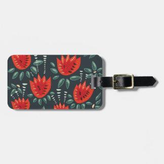 Rote Tulpe-dunkles Blumenmuster Gepäckanhänger