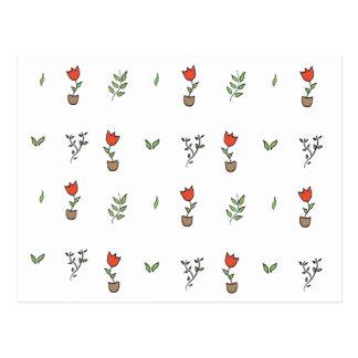 Rote Tulpe-eingemachtes Pflanzen-Muster Postkarte