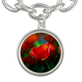 Rote Tulpe - Geheimnis des Blühens Charm Armband