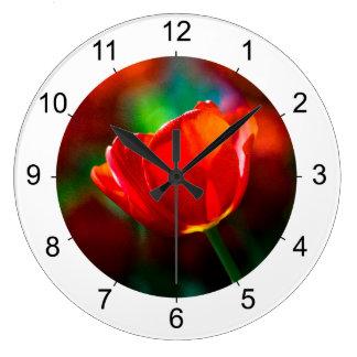 Rote Tulpe - Geheimnis des Blühens Große Wanduhr