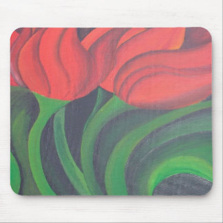 Rote Tulpe (links Platte) Mousepads