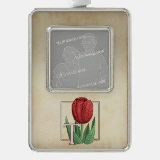 Rote Tulpe-personalisiertes Monogramm Rahmen-Ornament Silber