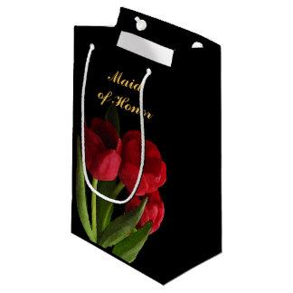 Rote Tulpe-Trauzeugin-kleine Geschenk-Tasche Kleine Geschenktüte