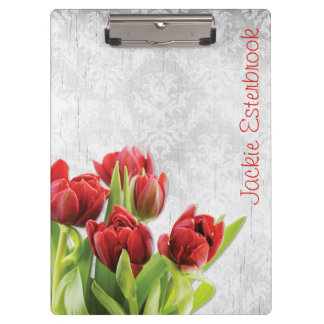 Rote Tulpen auf Shabby Chic-Silber-Damast Klemmbrett