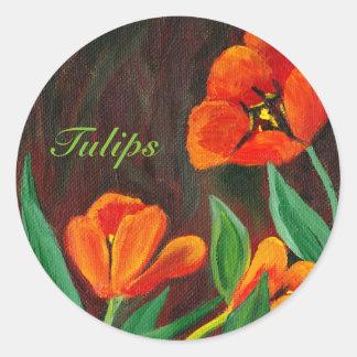 Rote Tulpen Runder Aufkleber