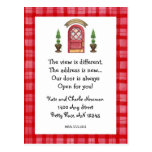 Rote Tür-neue Adressen-Postkarte