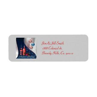 Rote u. blaue Weihnachtskerzen-Dekorationen