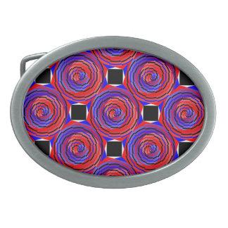 Rote u. blaue Zähler-Spirale durch Kenneth Yoncich Ovale Gürtelschnalle