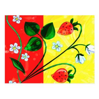 Rote u. gelbe Frühjahr-ErdbeerBlumen Postkarte