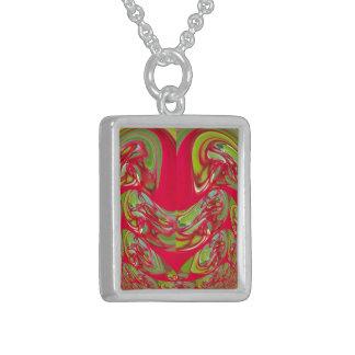 Rote u. grüne Flora Vintage Hakuna Matata Sterling Silberkette