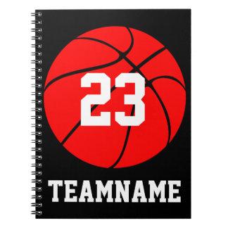 Rote u. schwarze Basketball-Team &Jersey Spiral Notizblock