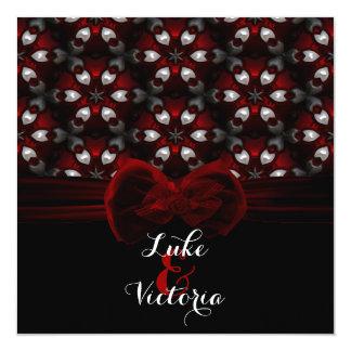 Rote u. schwarze dunkle Nachtgotische Hochzeit Karte
