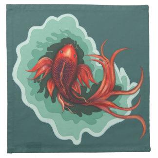 Rote u. schwarze Fantasie Koi Fische Serviette