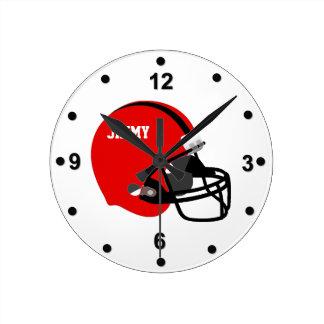 Rote u schwarze Football-Helm-Wanduhr