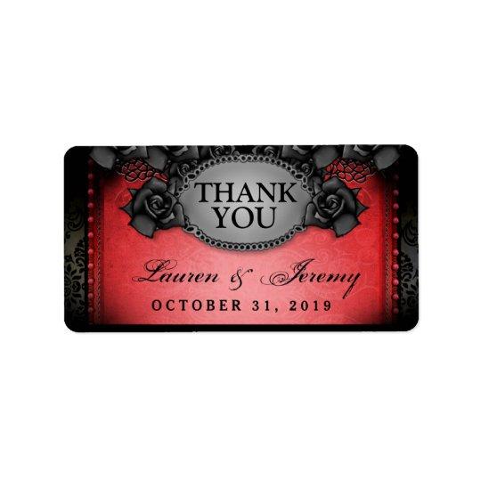Rote u. schwarze Halloween-Hochzeit danken Ihnen Adressetiketten