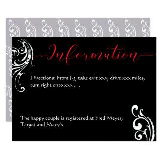 Rote u. schwarze Hochzeits-Einladungs-Einzelkarte Karte