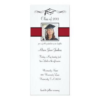 Rote u. schwarze SchulAbschluss-Einladungen 10,2 X 23,5 Cm Einladungskarte