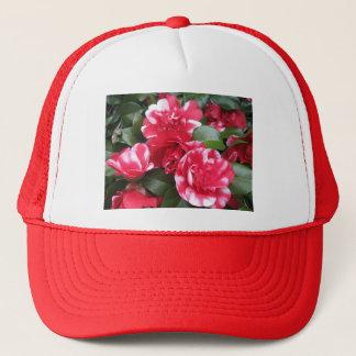 Rote u. weiße gestreifte Rosen Truckerkappe