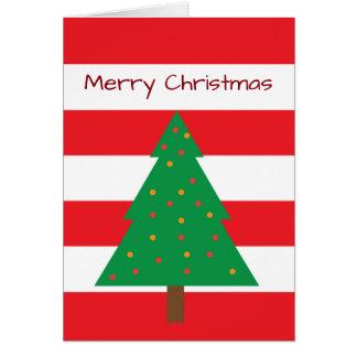Rote u. weiße gestreifte Weihnachtsbaum-Karte Karte
