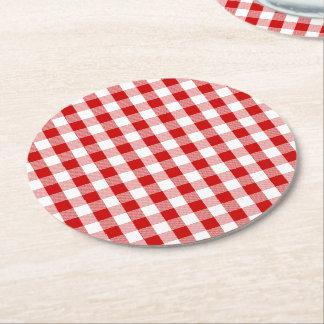 Rote u. weiße Gingham-karierte Karo-rustikale Runder Pappuntersetzer