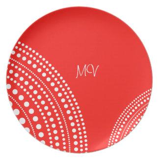 Rote u. weiße Punkt-Kreis-Muster-Küchen-Geschenke Party Teller