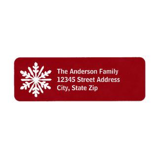 Rote u. weiße Schneeflocke - Adressen-Etikett Rückversand-Adressaufkleber