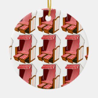 Rote u. weiße Strand-Stuhl-Thema-Verzierung Keramik Ornament