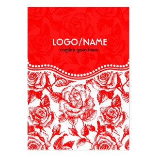 Rote u. weiße Vintage Rosen Muster-Besonders Visitenkarten Vorlagen