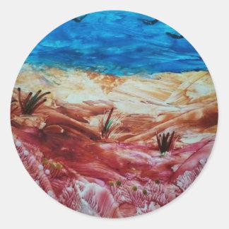 Rote und braune Landschaft Runder Aufkleber