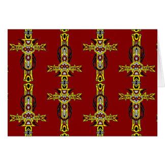 Rote und gelb-orangee Kreuz-Tätowierungs-Kunst Karte