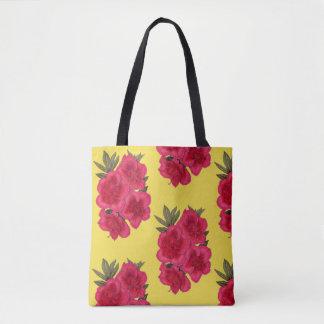 Rote und gelbe Azaleen-Blumen-EinkaufsTasche Tasche
