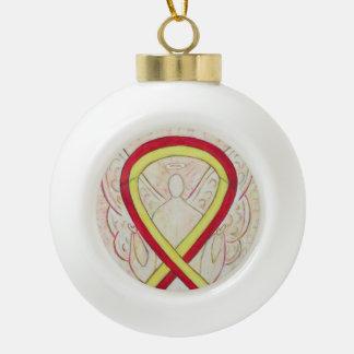 Rote und gelbe Bewusstseins-Band-Engels-Verzierung Keramik Kugel-Ornament