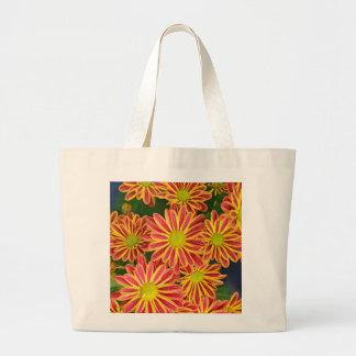 Rote und gelbe gestreifte Chrysantheme-Blumen Jumbo Stoffbeutel