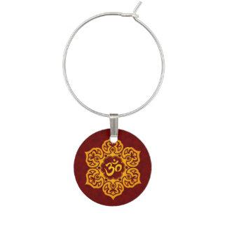 Rote und gelbe Lotos-Blume OM Glasmarker