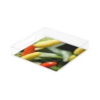 Rote und gelbe Paprika-Pflanze Acryl Tablett