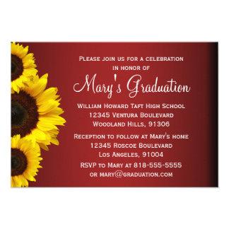 Rote und gelbe Sonnenblume-Abschluss-Einladung