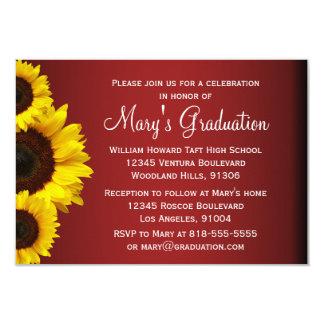 Rote und gelbe Sonnenblume-Abschluss-Einladung 8,9 X 12,7 Cm Einladungskarte