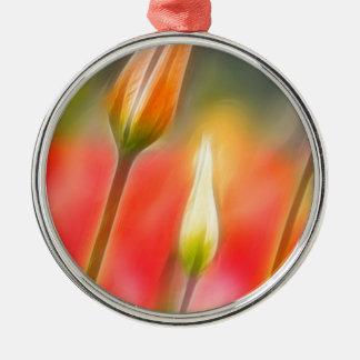 Rote und gelbe Tulpe-Skizze Silbernes Ornament