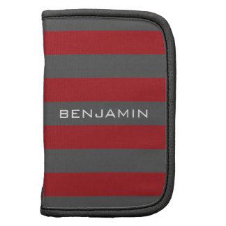 Rote und graue Rugby-Streifen mit individuellem Mappe