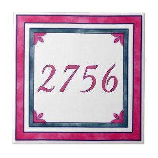 Rote und grüne Hausnummer Keramikfliese